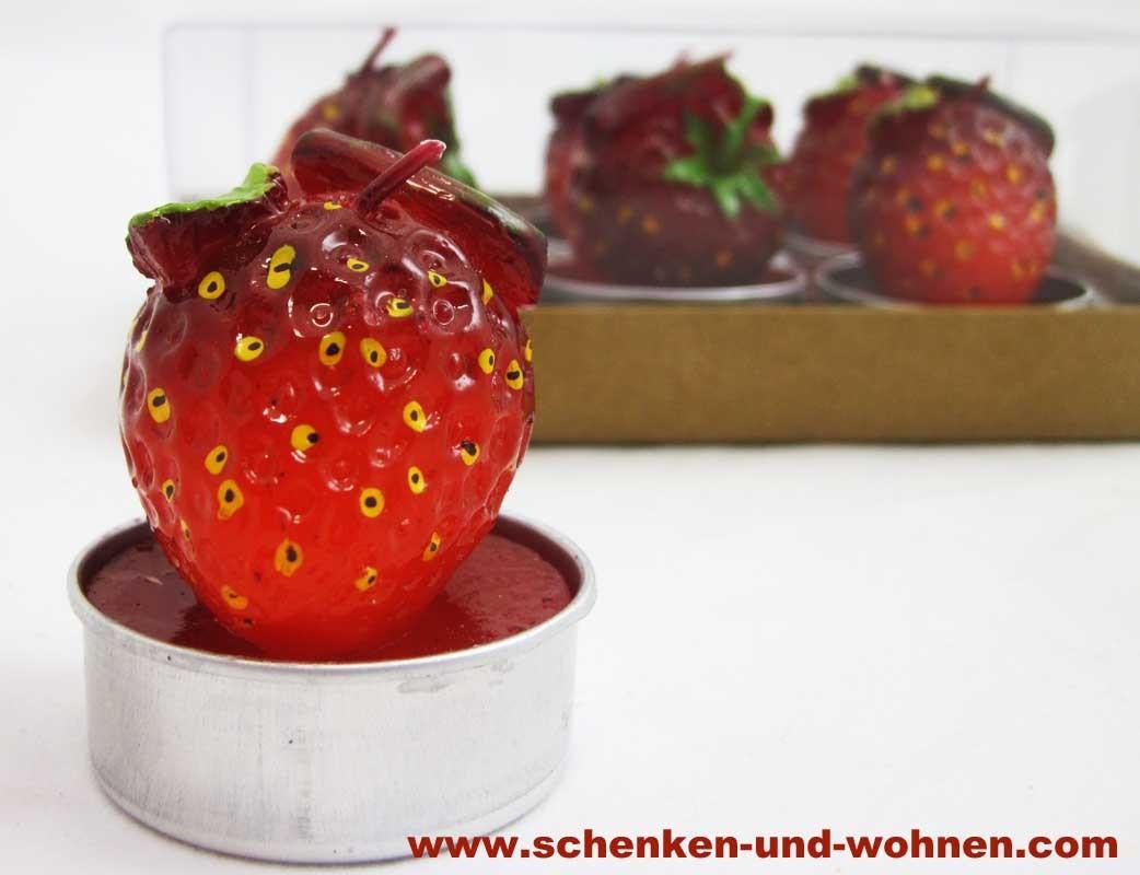 """Teelichter  """"Erdbeere"""" 6er Packung ca. 4 cm"""