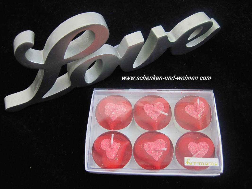 "Teelichter  ""Herz"" 6er Packung, rot-rosa ca. 4 cm"
