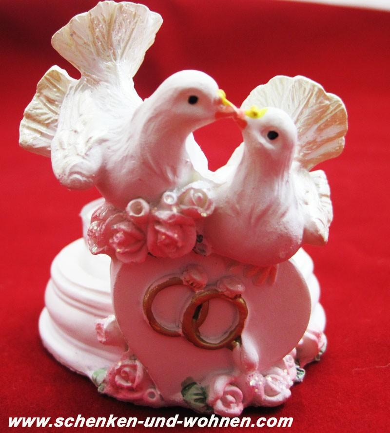 Teelichthalter Hochzeit mit Taubenpärchen Weiß, incl. Teelicht