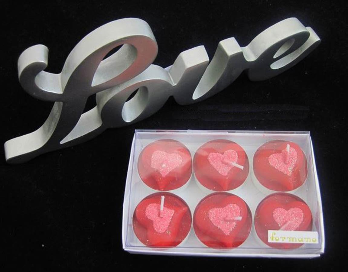 Teelichter Herz 6er Packung, rot-rosa ca. 4 cm