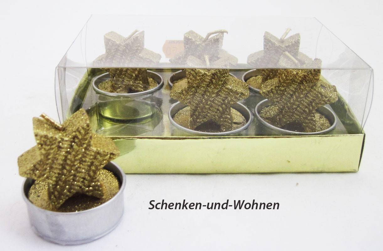 """Teelichter  """"Stern"""" 6er Packung, gold ca.4 x 4,2 cm"""