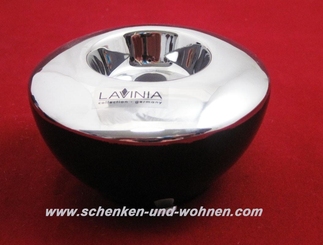 Teelichthalter - Capri - Schwarz / Silber glänzend ca. 10 x 10 x 6 cm (L/B/H)