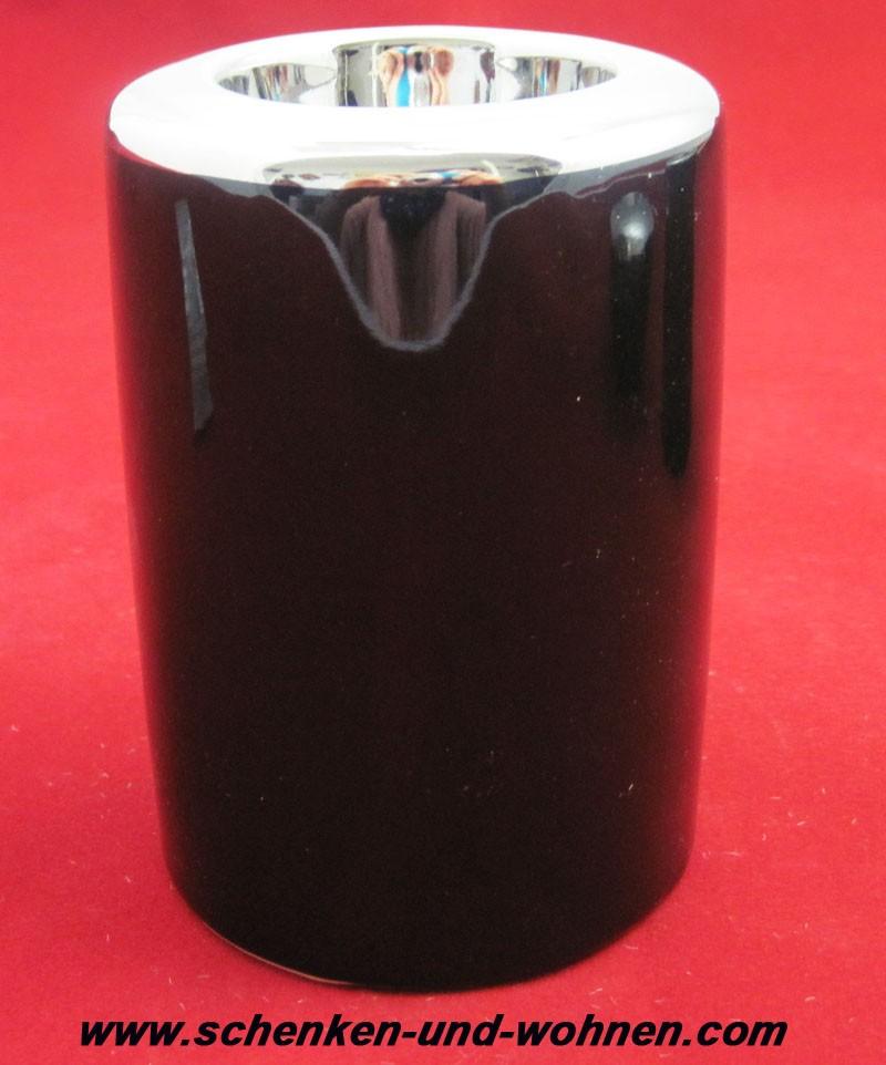 Teelichthalter - Capri - Schwarz / Silber glänzend ca. 8 x 8 x 11,5 cm (L/B/H)
