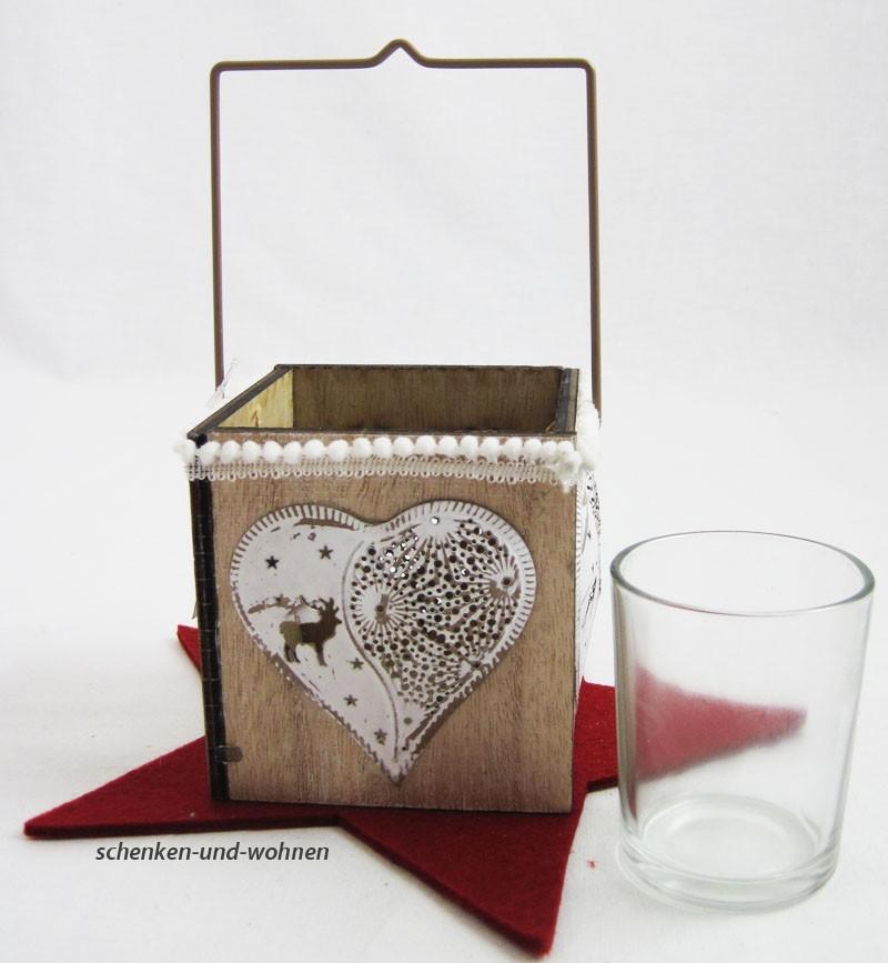 Holz-Teelichthalter mit Metallapplikation Herz  ca. 8,5 x 8,5 x 8,5 cm