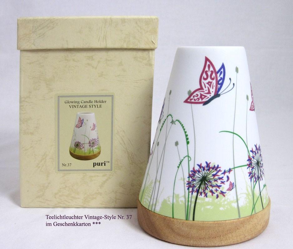 Teelichtleuchter Vintage Style Schmetterling mehrfarbig Nr. 37 ca. 14,5 cm hoch