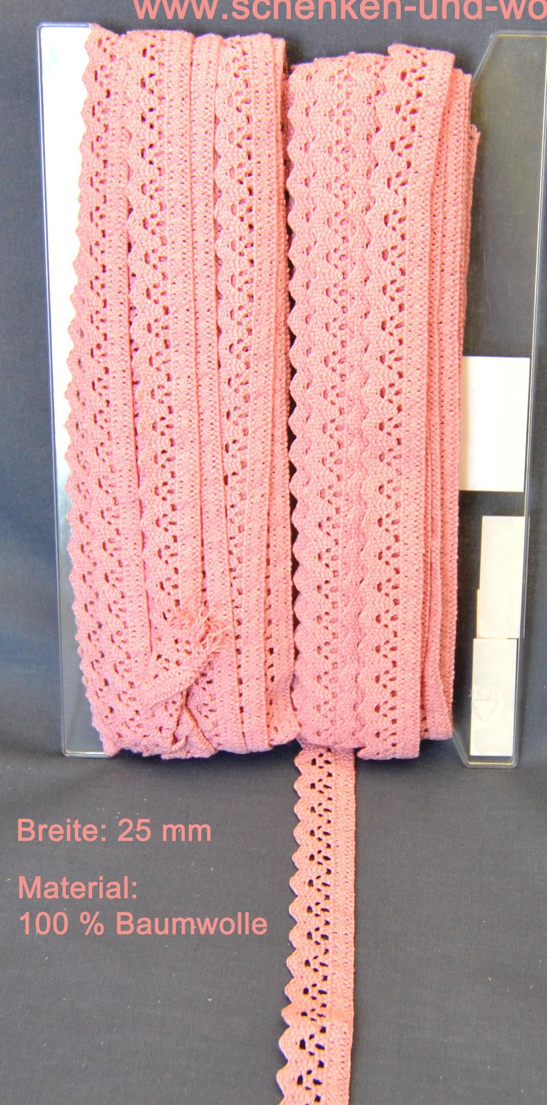 Baumwoll-Spitze Borte 25 mm breit rosé Tegernsee