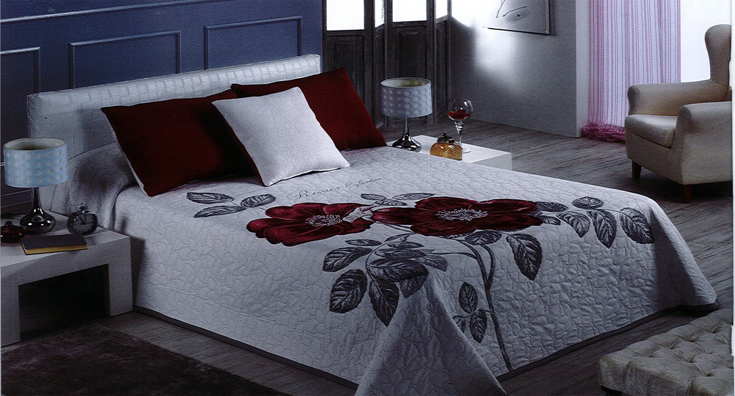 """Tagesdecke - Bettüberwurf """"Rose"""" fuchsia 230 x 275 cm"""