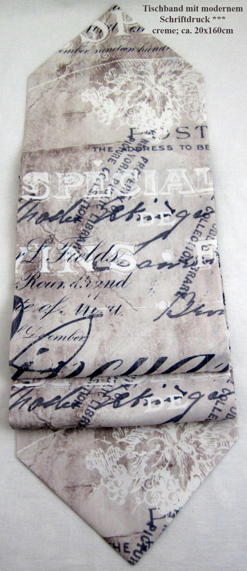 Tischband mit modernem Schriftdruck ca. 160 x 20 cm creme