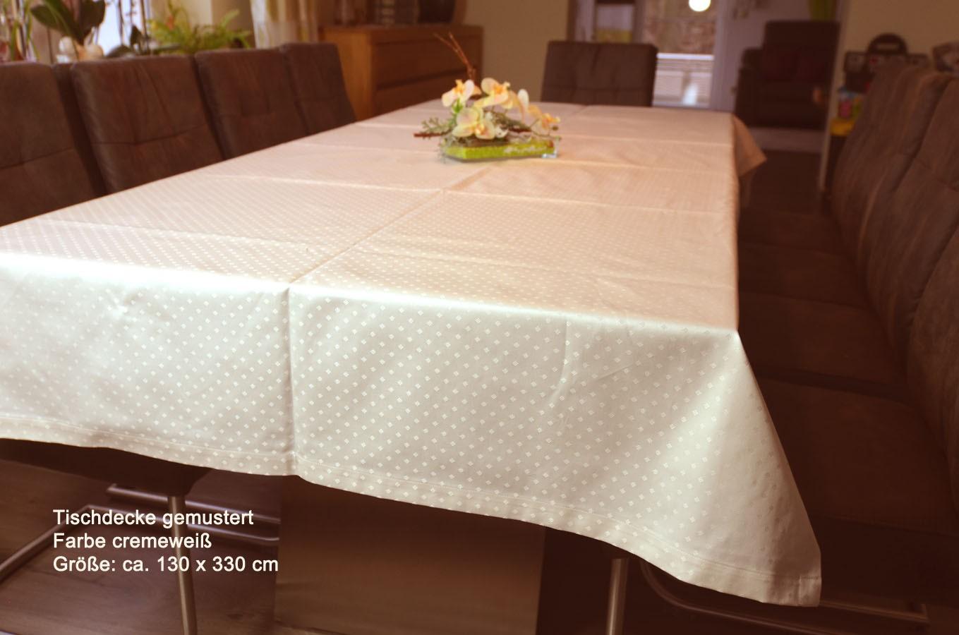 Tischwäsche Tischdecke 130 x 330 cm cremeweiß gemustert