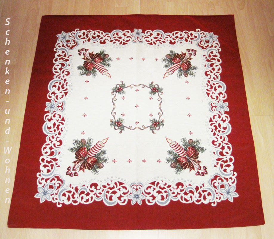 "Weihnachtsdecke  ""Kerze""  Creme/Rot Gobelin, 97 x 97 cm"
