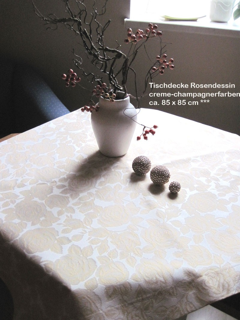 Tischdecke - Rosendessin - Creme - Champagner, ca. 85 x 85 cm