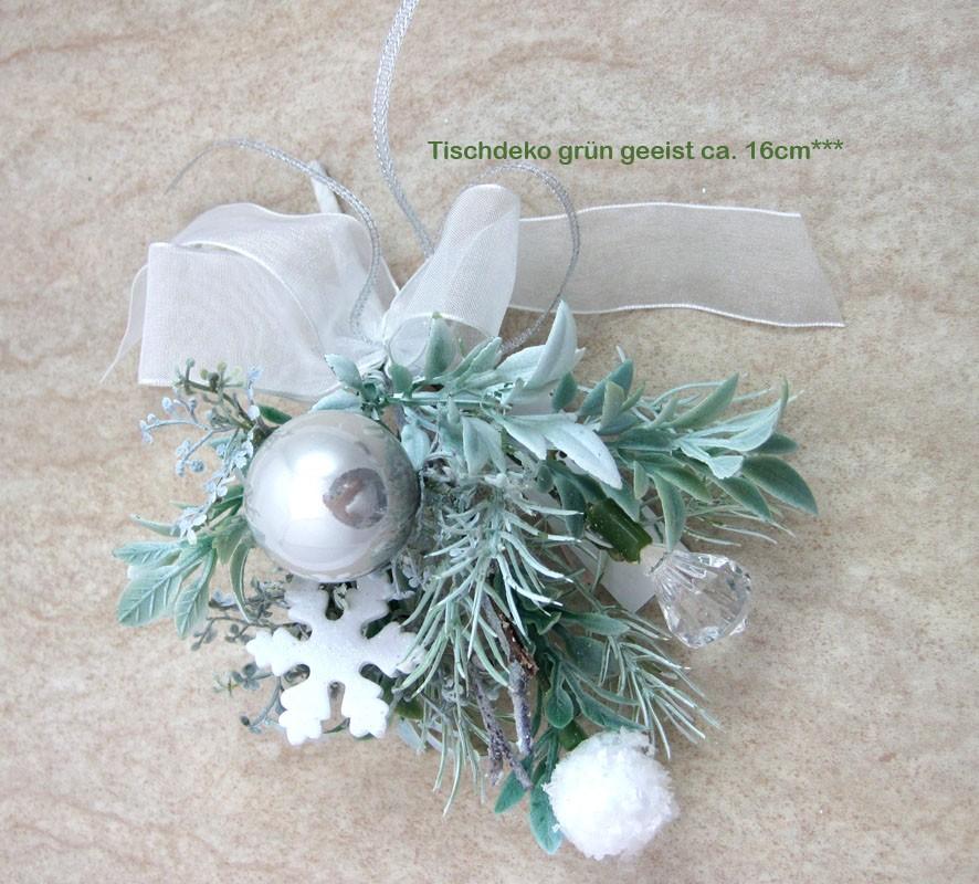 Winterliche Tischdeko grün geeist ca. 16 cm