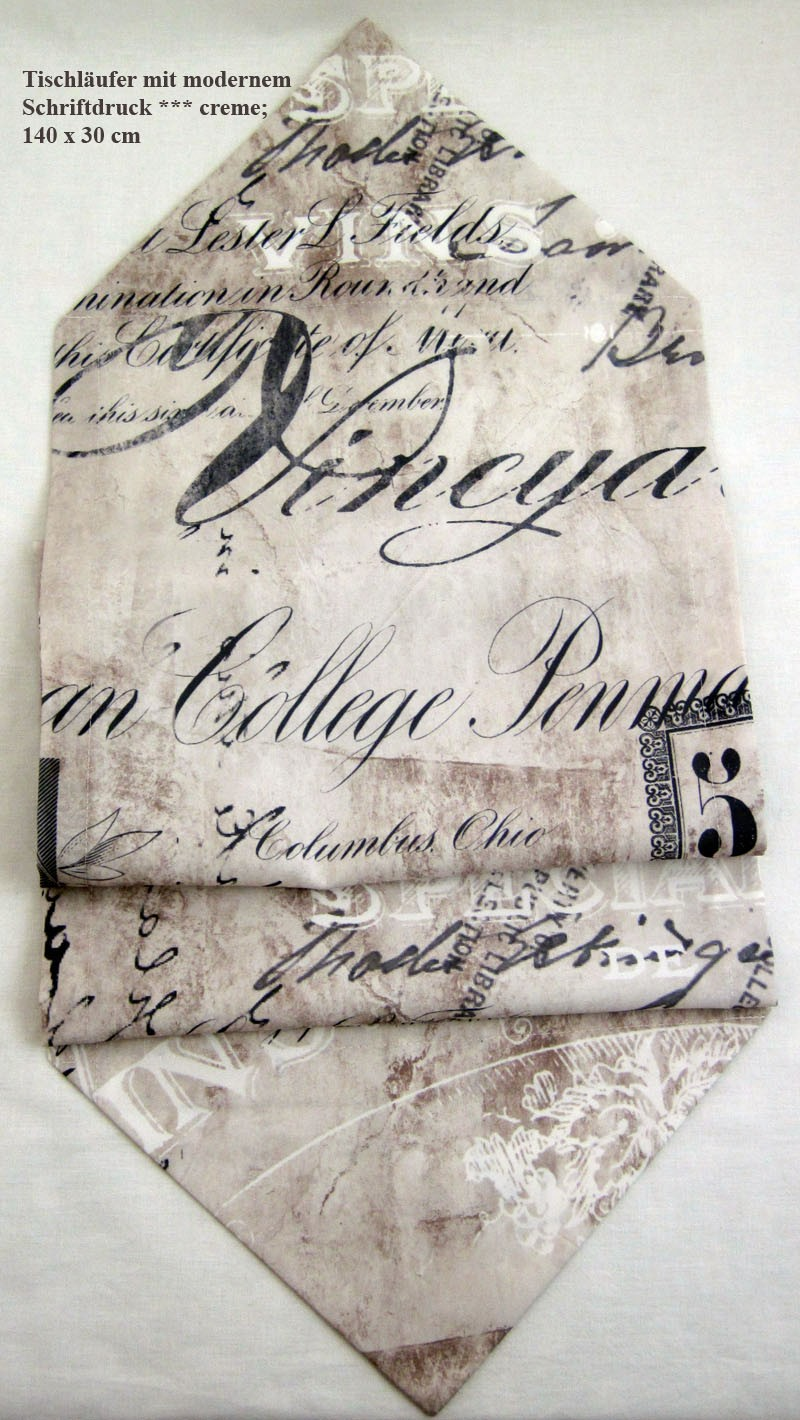 Tischläufer mit modernem Schriftdruck ca. 140 x 30 cm creme