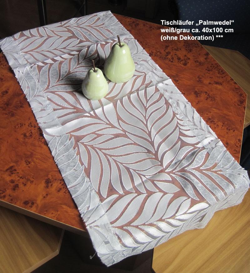 """Tischläufer """"Palmwedel"""" weiß/grau ca. 40x100 cm"""