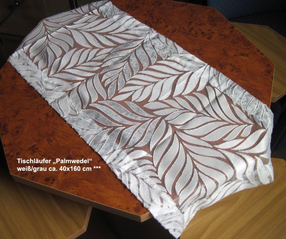 """Tischläufer """"Palmwedel"""" weiß/grau ca. 40x160 cm"""