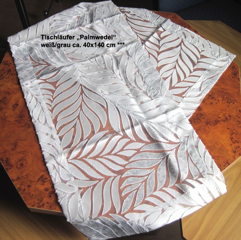 """Tischläufer """"Palmwedel"""" weiß/grau ca. 40x140 cm"""