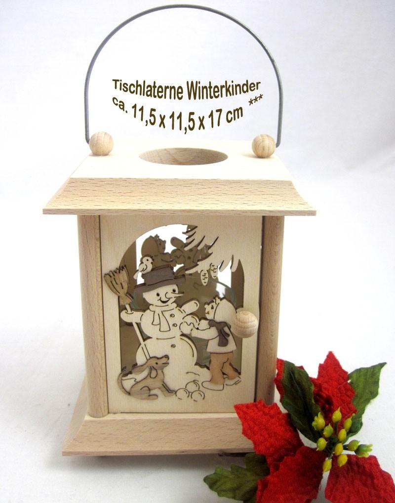Tischlaterne Winterkinder natur, ca. 11,5 x 11,5 x 17 cm