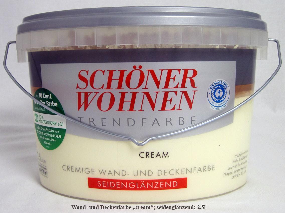 """Schöner Wohnen Cremige Wand- und Deckenfarbe """"cream"""" seidenglänzend; 2,5 l"""
