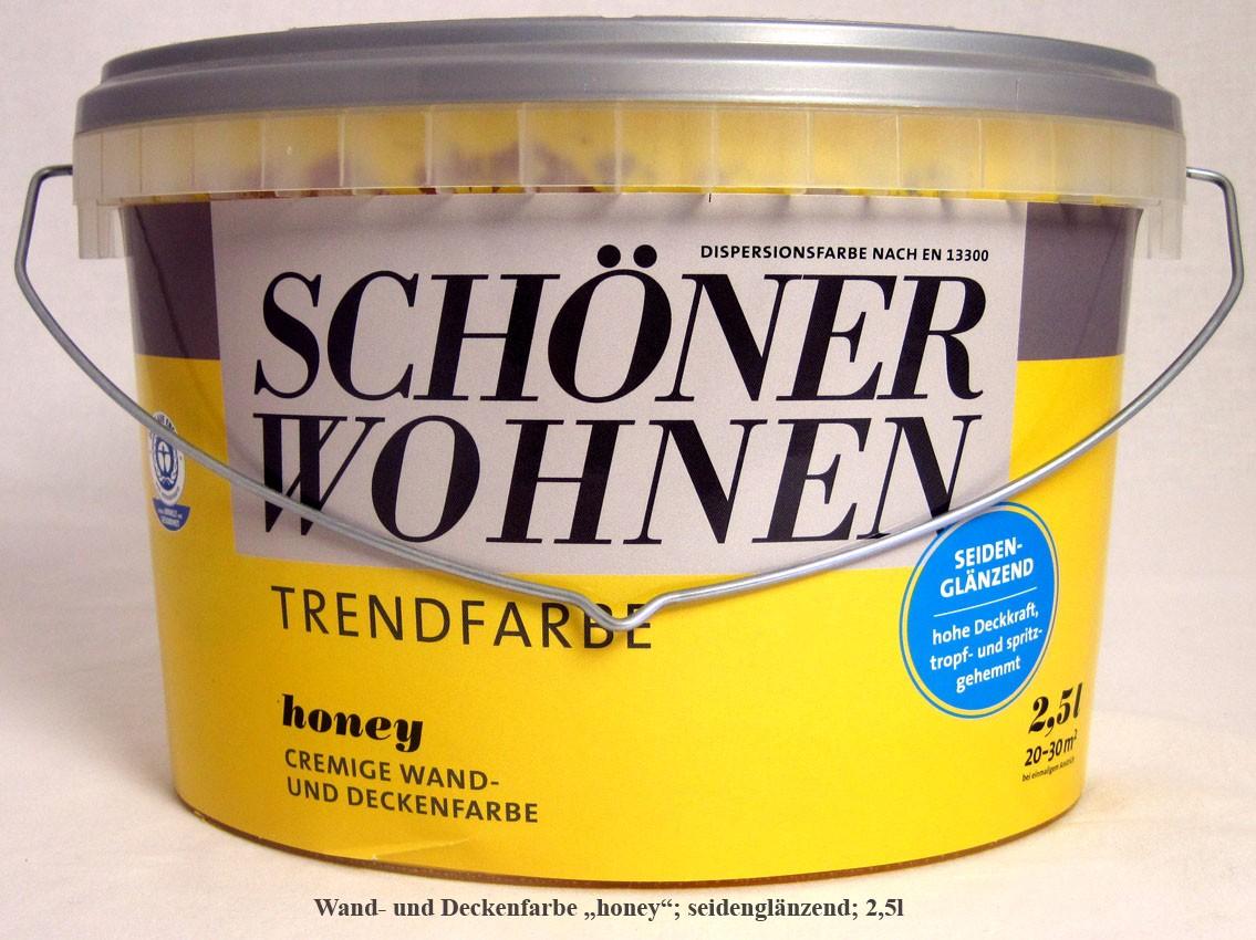 """Schöner Wohnen cremige Wand- und Deckenfarbe """"honey"""" seidenglänzend; 2,5l"""
