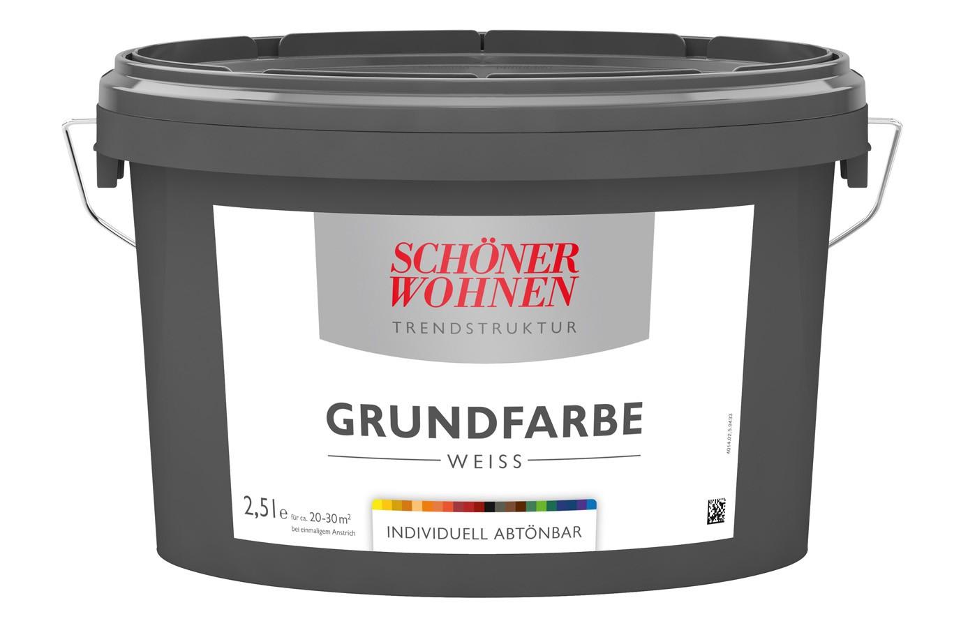 Trendstruktur Grundfarbe Weiß 2,5 L  individuell abtönbar Schöner Wohnen