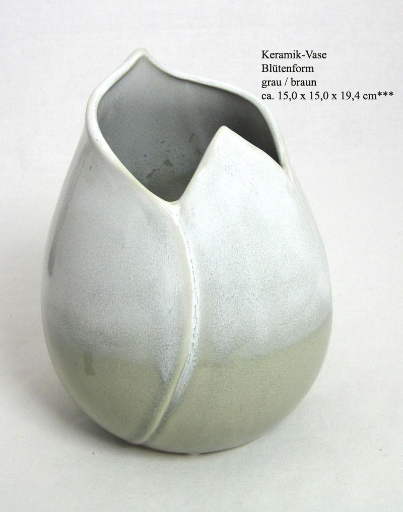 Keramik-Vase Blütenform grau / braun ca. 15,0 x 15,0 x 19,4 cm