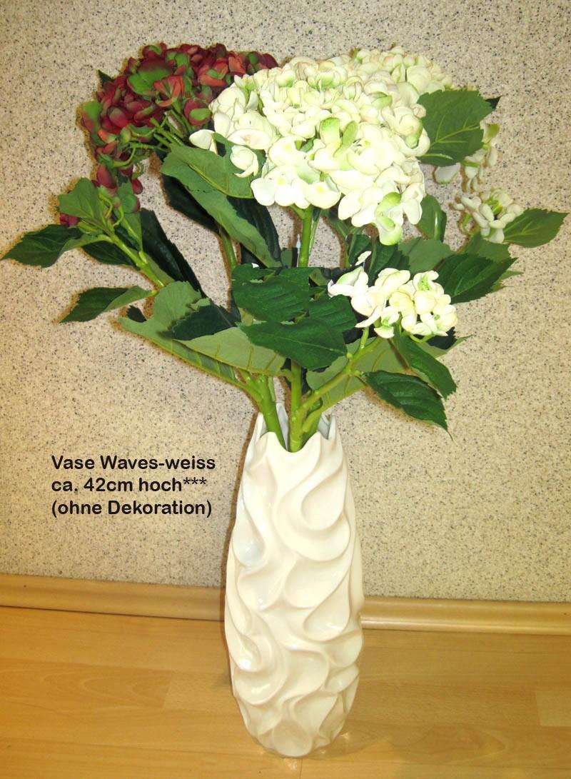 """Keramik-Vase """"Waves"""" weiß glasiert, ca. 42 cm hoch"""