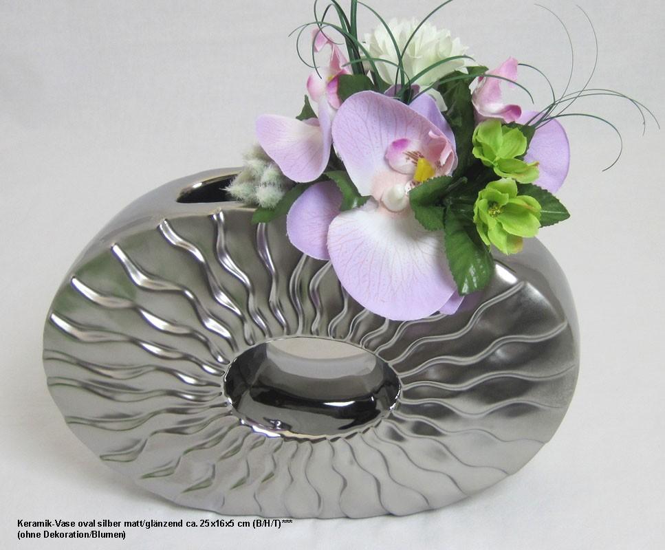 Keramik-Vase oval silber matt/glänzend ca. 25x16x5 cm (B/H/T)