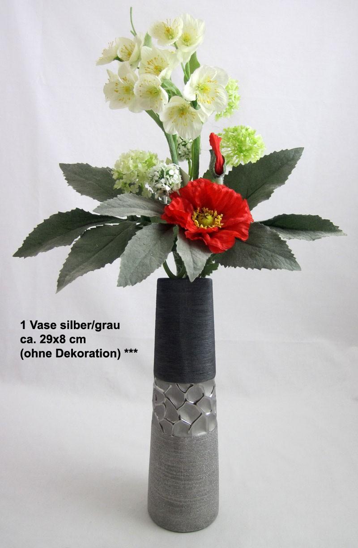 1 Keramik Vase schmal silber/grau ca. 29x8 cm (H/B)