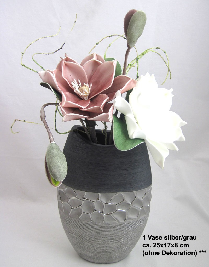 1 Keramik-Vase oval silber/grau ca. 25x17x8 cm (H/B/T)