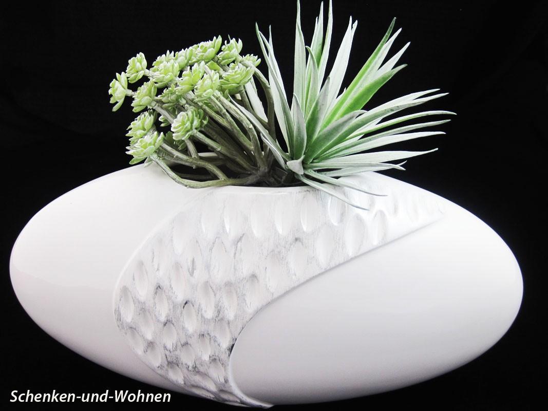 Vase Pamplona mit Reliefstruktur, Weiß ca. 35 x 18 cm (B/H)