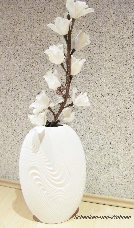 Vase Bianco mit Reliefstruktur, Weiß ca. 29 x 46 cm