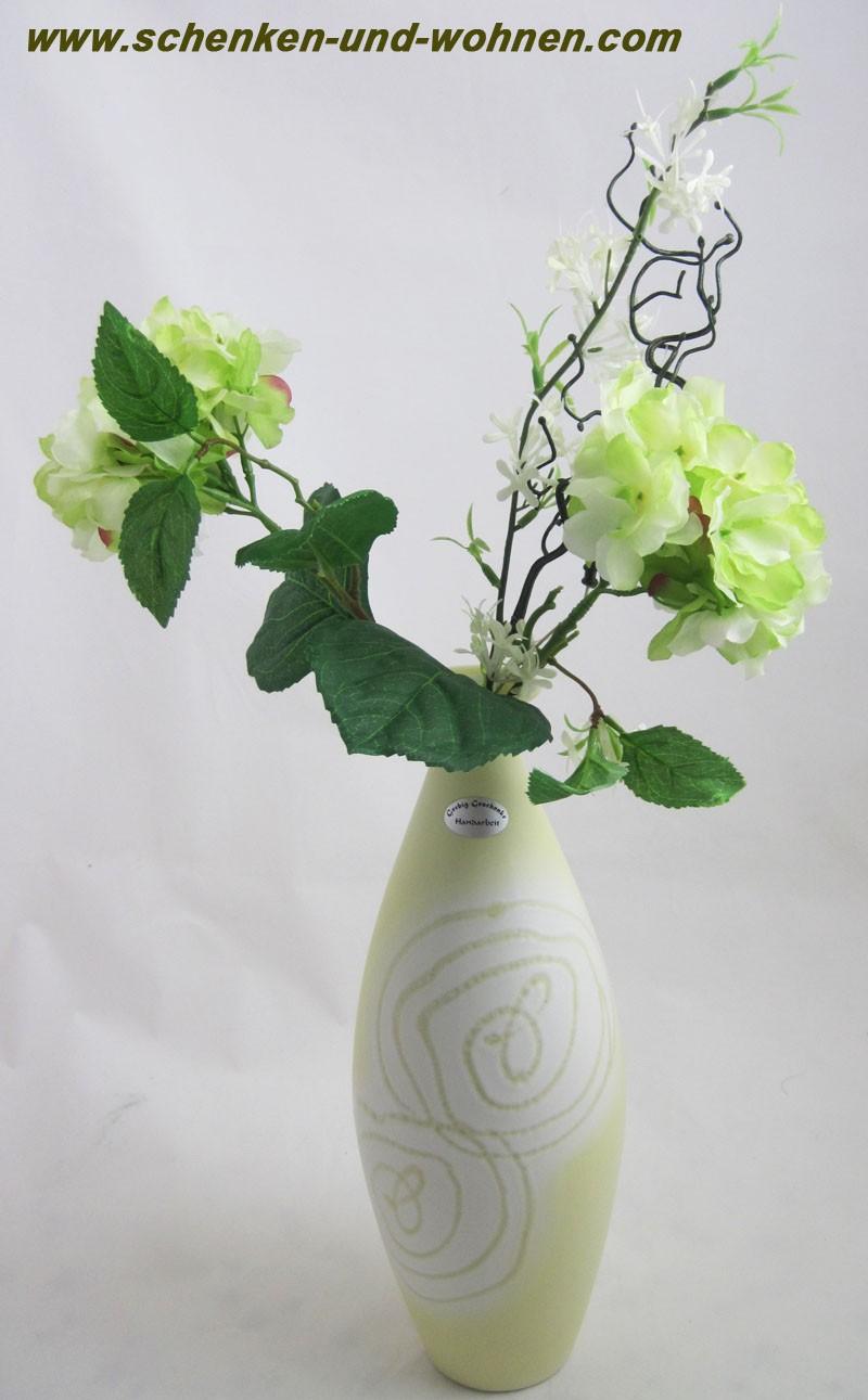 Keramik - Vase Limone, glasierte Oberfläche mit Dekor ca. 32 cm