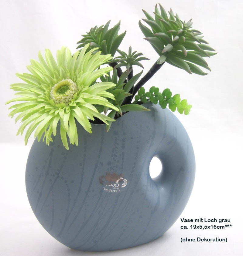 Keramik - Vase mit Loch, grau ca. 19 x 5,5 x 16 cm