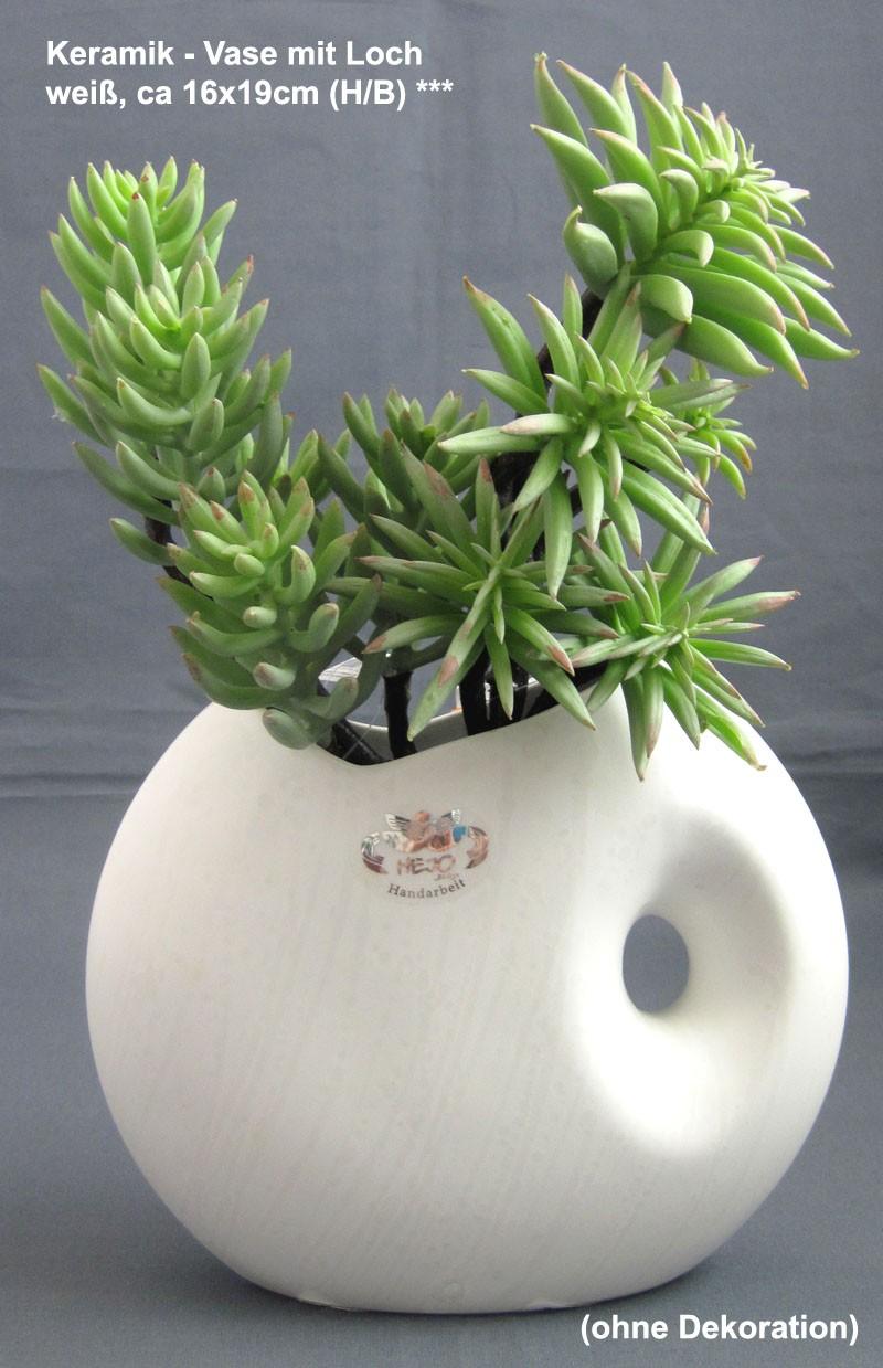 Keramik - Vase mit Loch, weiß mit Strukturmuster ca. 16x19 (H/B)