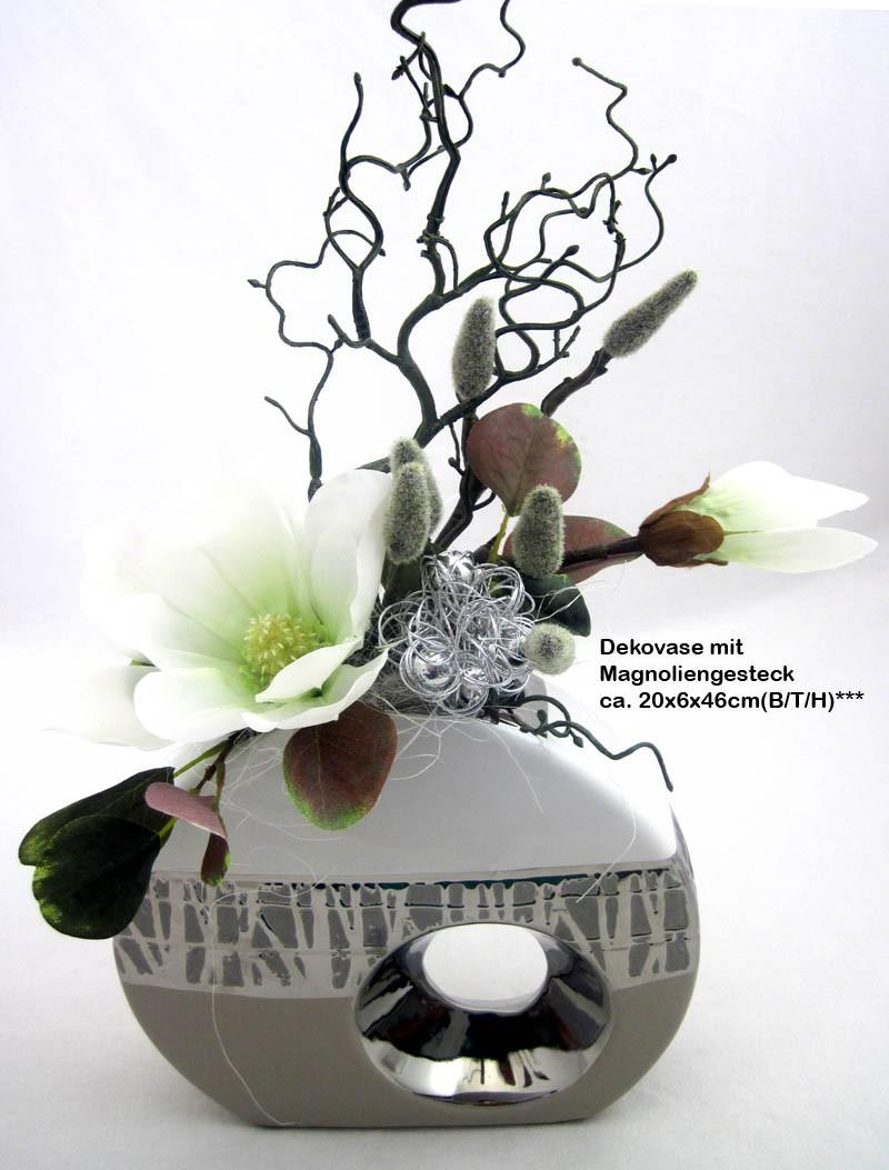 Kunst-Blumenarrangement Magnolie in Keramik-Vase ca. 20x6x46cm (B/T/H)