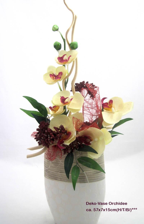 Kunst-Blumenarrangement Orchidee in Keramik-Vase ca. 57x7x15cm (H/T/B)