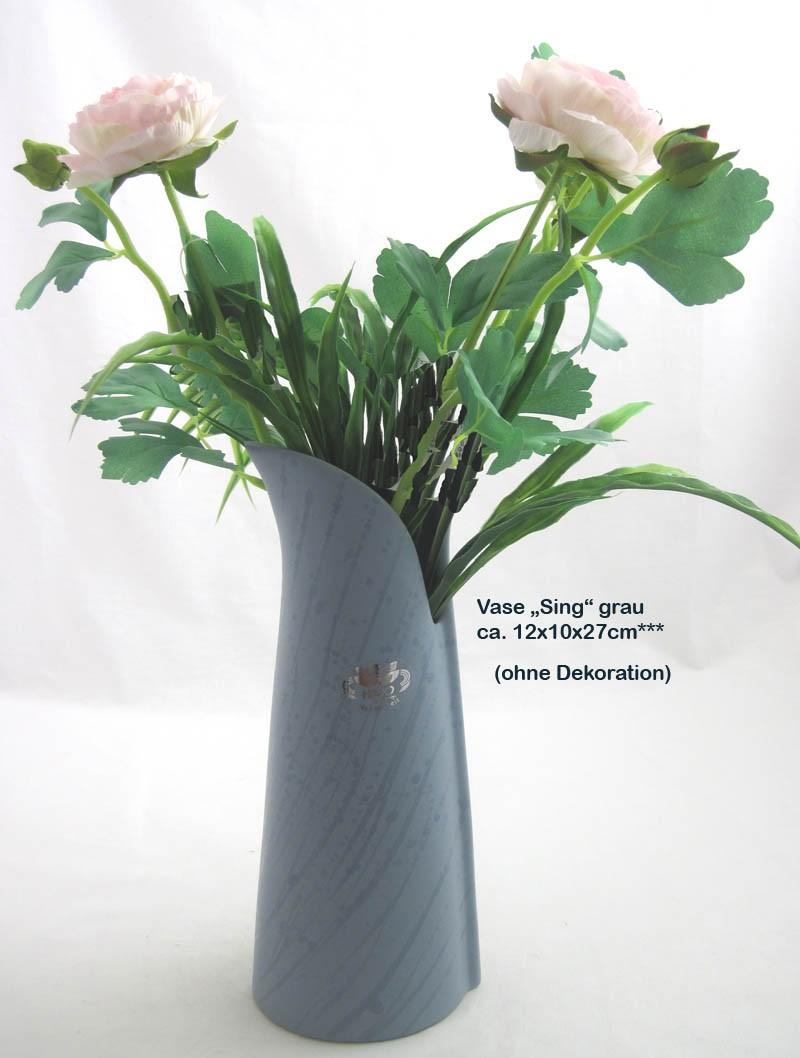 Keramik - Vase Sing groß, grau ca. 12 x 10 x 27 cm