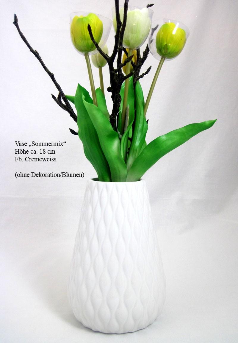 Keramik-Vase Sommermix Cremeweiß Perlmutt-Finish, ca. 18 cm hoch