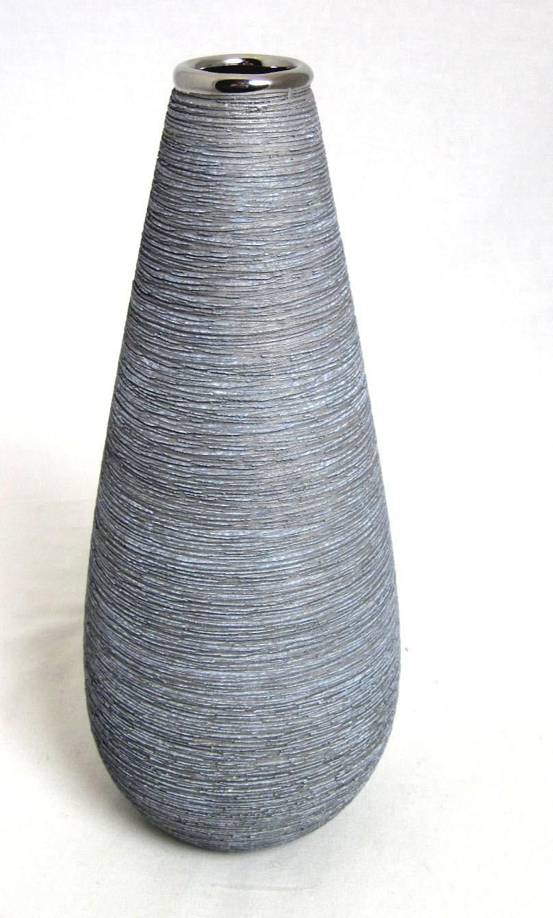 Kegelvase Vulcanos silber glänzend - grau gekratzt ca. 28x11x11cm H/B/T