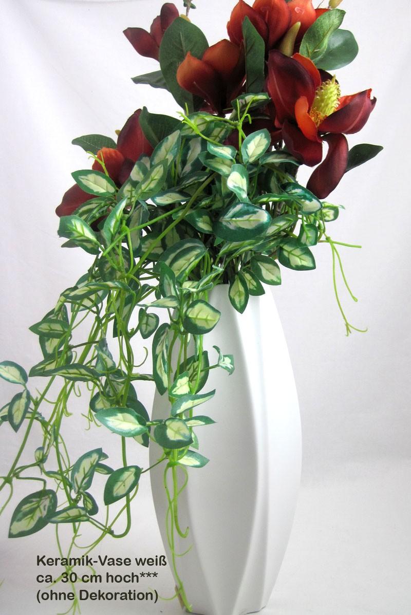 Keramik-Vase Weiß-mattglasiert ca. 30 cm