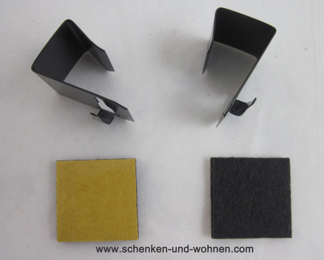 Fenster Clip links/rechts zum Klemmen für Vitragen Scheibengardinenstäbe braun Set