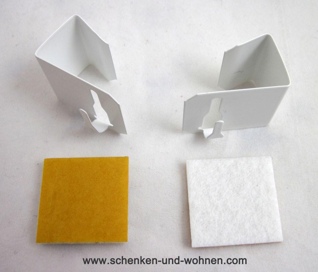 Fenster Clip links/rechts zum Klemmen für Vitragenstäbe-weiß, 2er-Set