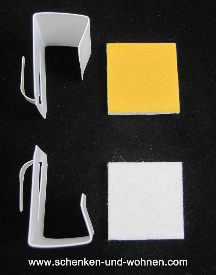 Fenster Clip zum Klemmen für Vitragen Scheibengardinenstäbe weiß Set oben-unten