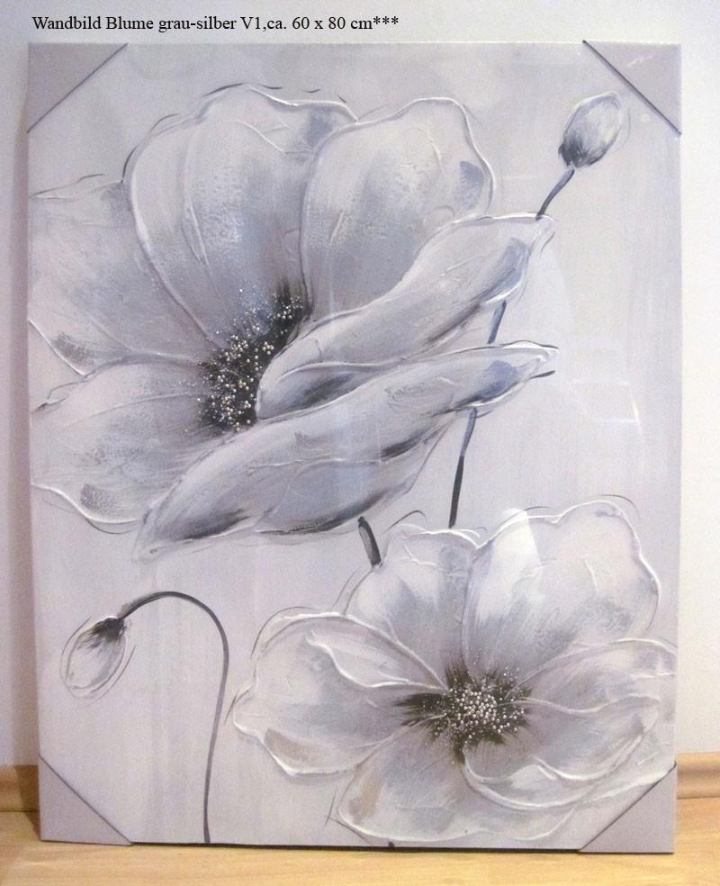 Wandbild Gemälde Blume V1 grau-silber mit Glitzersteinchen 60 x 80 cm
