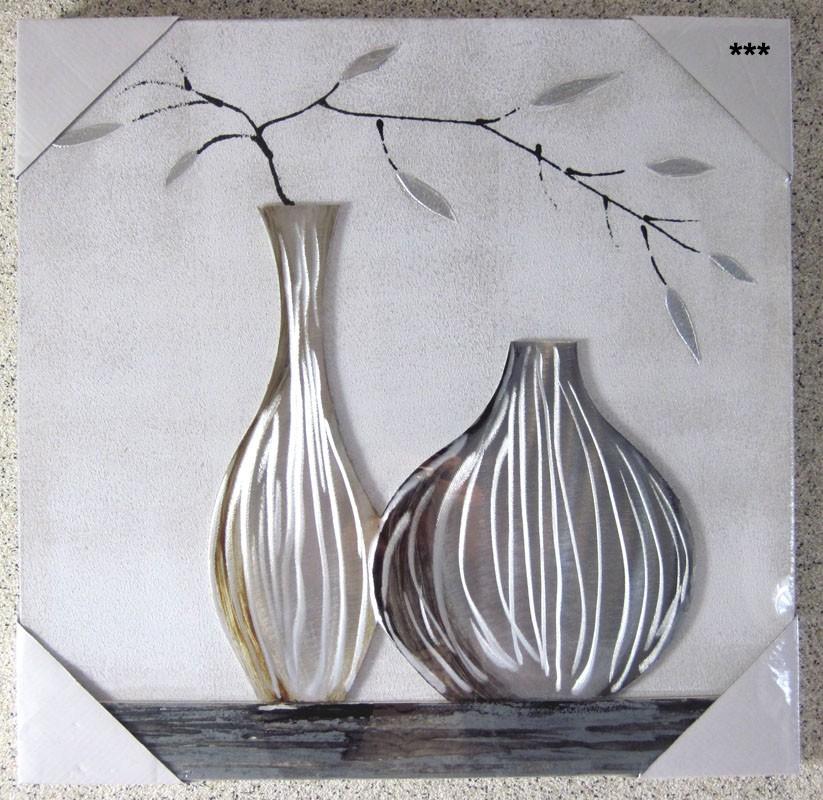 Modernes Wandbild, Vase mit Blättern ca. 50x50 cm auf Holzrahmen V1
