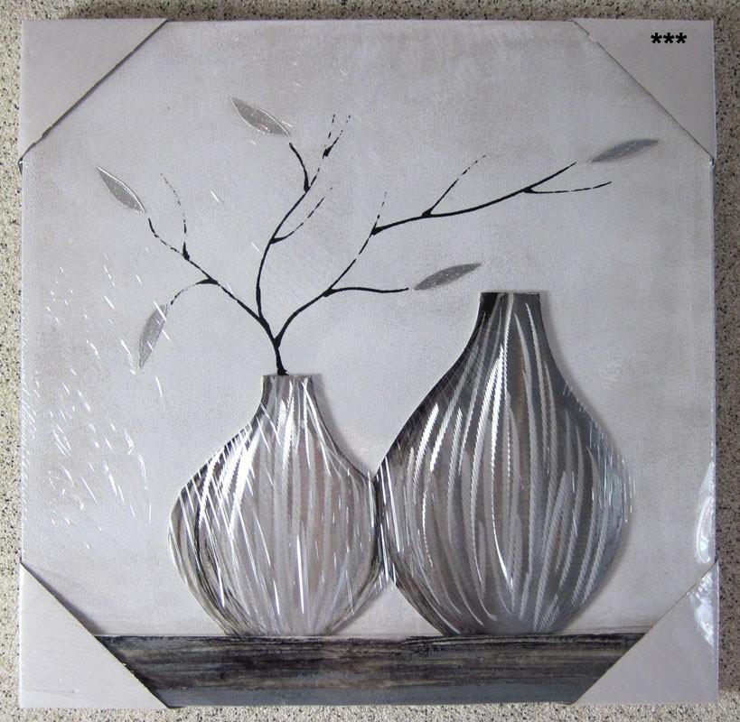 Modernes Wandbild, Vase mit Blättern ca. 50x50 cm auf Holzrahmen V2