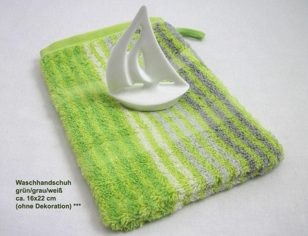 Waschhandschuh Noblesse Cashmere grün/grau/weiß ca. 16x22