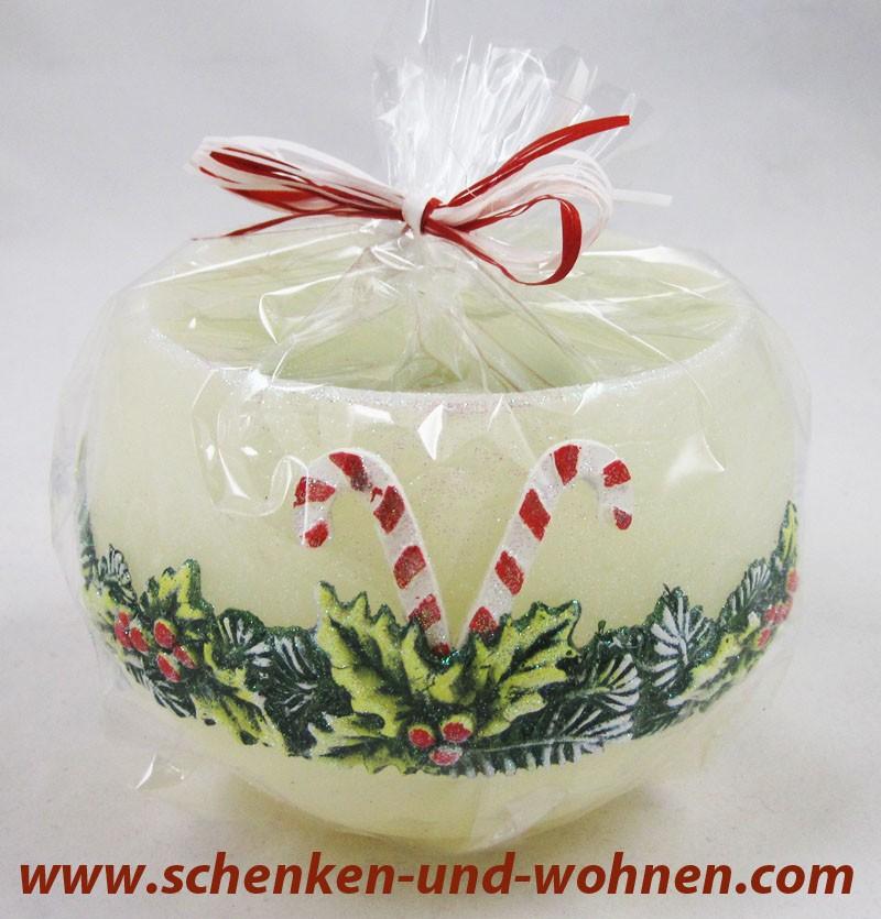 Wachswindlicht mit Weihnachtsmotiv, Creme Tannengrün ca. 12 cm Durchmesser