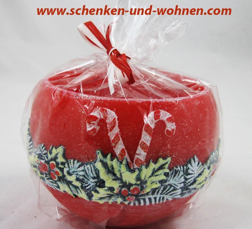 Wachswindlicht mit Weihnachtsmotiv, Rot Tannengrün ca. 12 cm Durchmesser