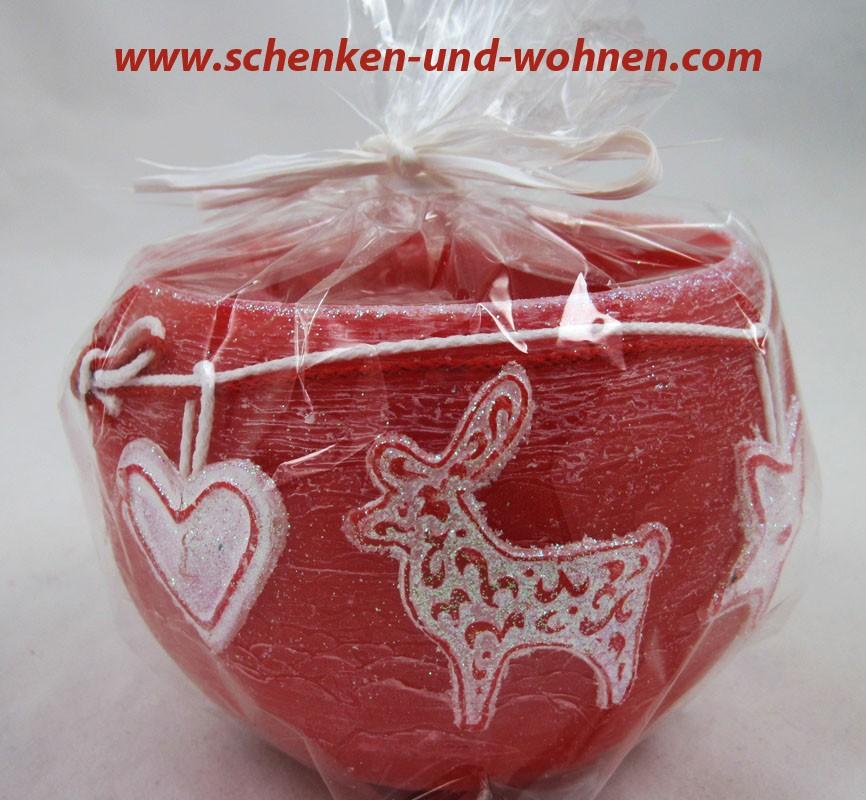 Wachswindlicht mit Weihnachtsmotiv, Rot ca. 12 cm Durchmesser